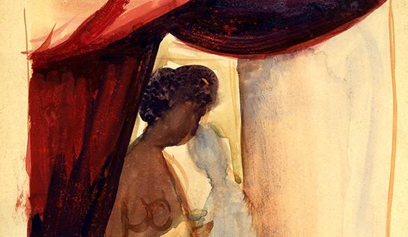 aquarelle sur papier, circa 1946, 27,5x21cm proposition pour La Peau d'Elisa